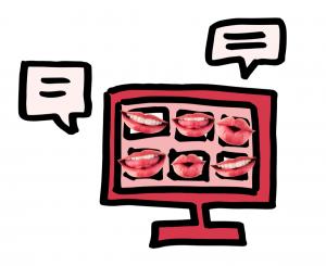 Figuur 3: Een scherm met pratende monden